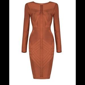 Bronze Long Sleeve Fitted Bandage Dress